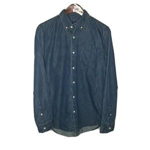 Old Navy Womens Button Shirt Blue Jean Chambray